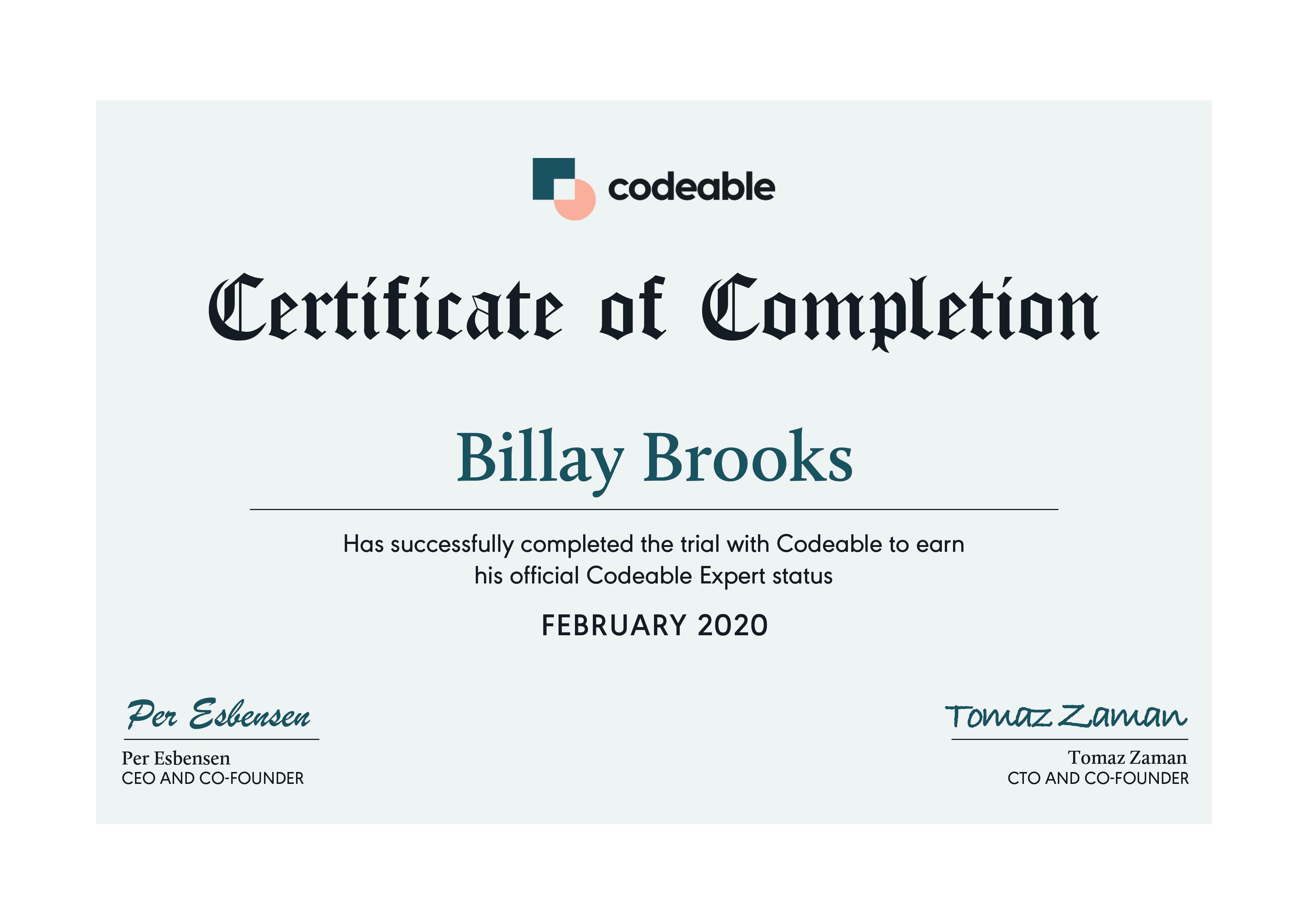 Billay Brooks - Codeable Expert